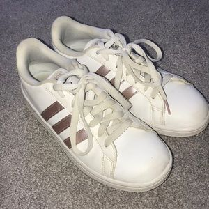 White Adidas Sneaker with Rose Gold Stripes